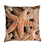 Truly Teague Burlap Suede or Woven Throw Pillow Collection Of Starfish - Burlap