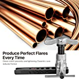 Flexzion Flaring Tools Set Tubing Pipe 8 Dies Sizes 3/16-3/4inch 45 Degree Angle Eccentric Cone Type Kit with Copper Brass Aluminum Mild Steel for Water Gas Refrigeration Brake Line Applications