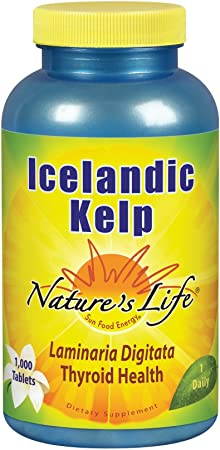 Nature's Life Icelandic Kelp 41 mg Tablets   Thyroid Support Supplement with Iodine   No Gluten, Non-GMO Green Superfood   1000 Count