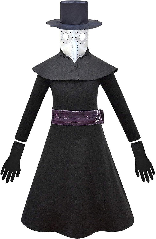Jimcoser Plague Doctor Bird Mask Halloween Cosplay Costume Terror Jumpsuit Hat Cloak Suit for Kids
