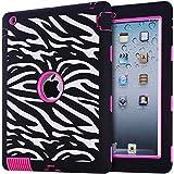 iPad Case,iPad 2/3/4 Case, BENTOBEN Silicone Plastic 3 in 1 Hybrid Shockproof & Drop Resistance Anti-slip cover for iPad Case iPad 2/3/4 Case(Zebra+Rose Red)