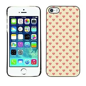 For iPhone 5 / 5S - Hearts Valentines Vignette Pink Dise???¡Ào Protecci????n Cubierta de la caja ultra delgada de Snap de pl????stico duroco duro - God Garden -