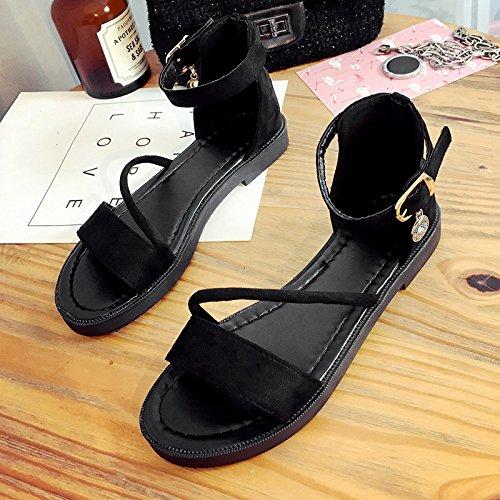 RUGAI-UE Sandalias de verano chica dedos del fondo plano un tono hebilla talón plano zapatos de mujer Black