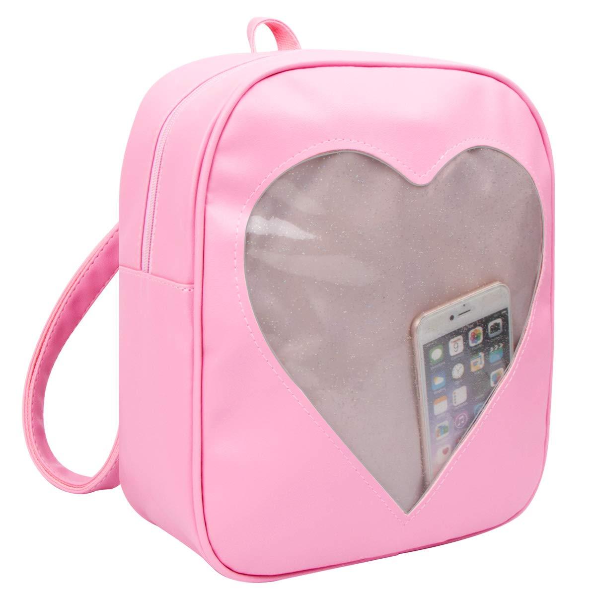 xhorizon FL1 Candy Leather Backpack Transparent Heart Beach Girls School Bag 201610310526E