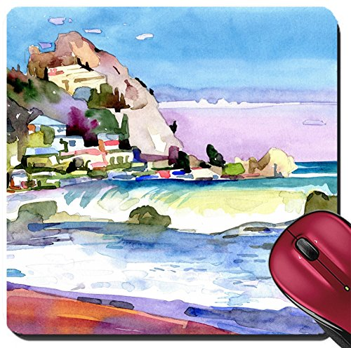Liili Suqare Mousepad 8x8 Inch Mouse Pads/Mat IMAGE ID: 19341445 original watercolor painting on paper of a rocky bank is in the district of Gurzuf Crimea Ukraine plein (Rocky Bank)