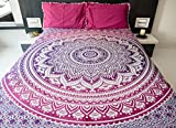 Bohemian Mandala Tapestry Bedding with Pillow Covers, Indian Hippie Tapestry Wall Hanging, Mandala Bedspread for Bedroom or Beach Throw Blanket, Pink Purple Queen Size Magenta Marvel Boho Decor