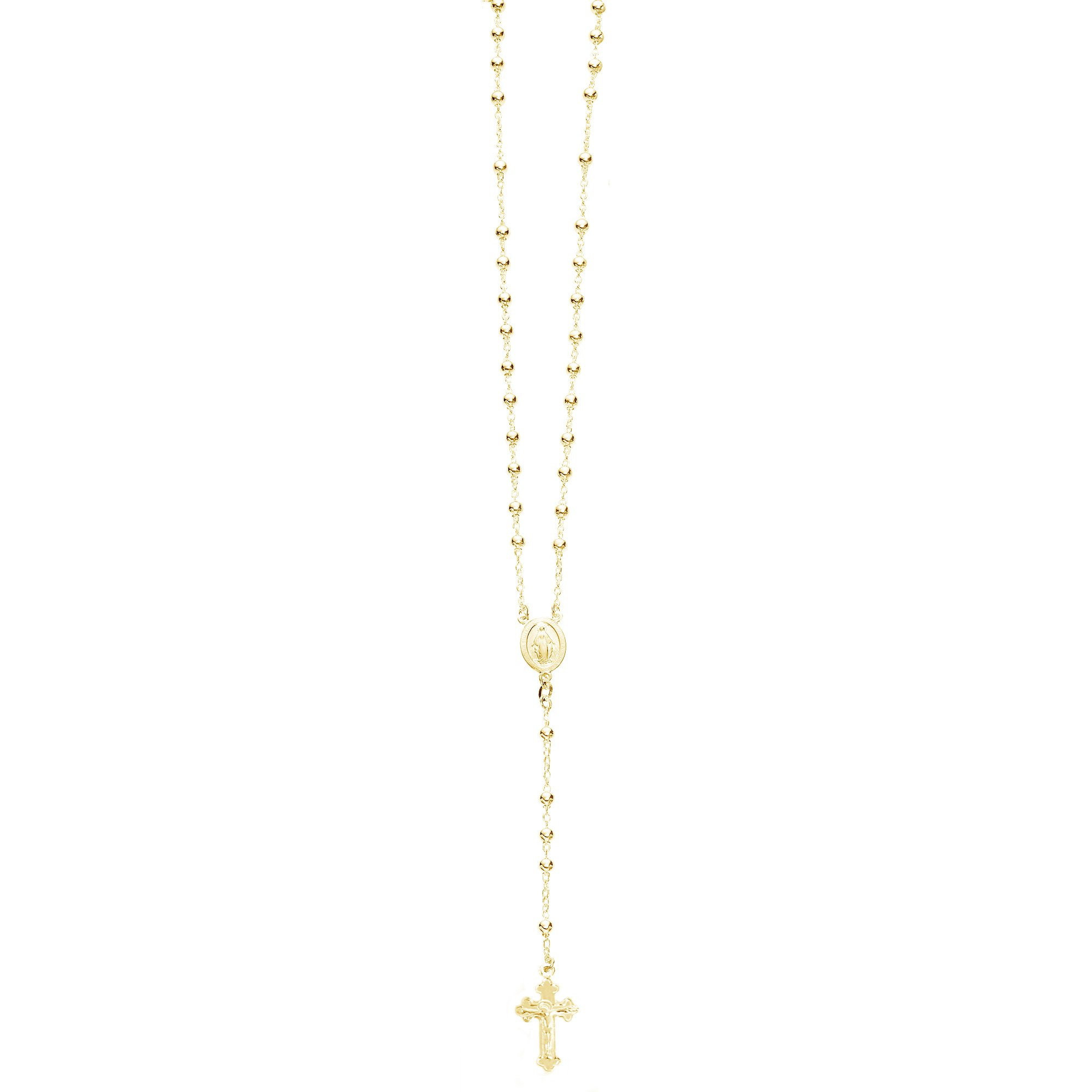 Ritastephens Sterling Silver or Gold-tone Rosary Bead Necklace Virgin Mary Cross Made in Italy (30 Inches)