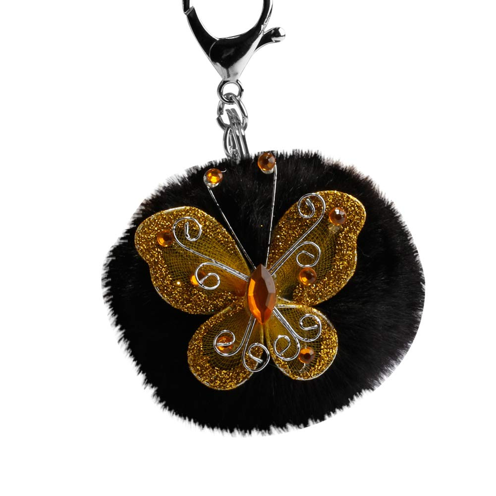 Finance Plan Big Promotion Fashion Butterfly Rhinestone Faux Fur Ball Keyring Key Chain Handbag Pendant Black