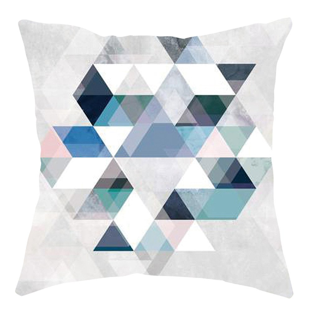 Pgojuni Home Cushion Cover Geometric Throw Pillow Cover Square Accent Cushion Cover Pillow Case for Sofa/Car/Bed 1pc (C)