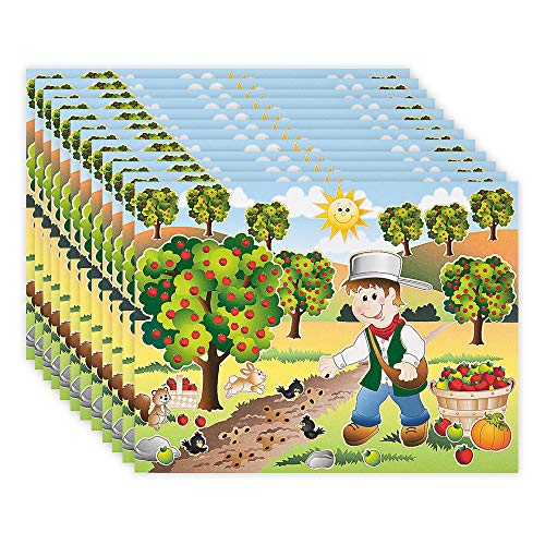 Johnny Appleseed Craft (Kicko Make a Johnny Appleseed Sticker - Set of 12 Apple Farm Stickers Scene for Birthday Treat, Goody Bags, School Activity, Group Projects, Room Decor, Arts and)