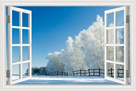 Vinyl Decal Wall Sticker 3D Open Window Natural Beautiful Snow With Sunshine In Winter Scenery Wallpaper