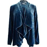 Women's Waterfall Collar Velvet Blazer Long Sleeve Cardigan Coat Lapel Open Front Outwear Drape Green Black S to XXL