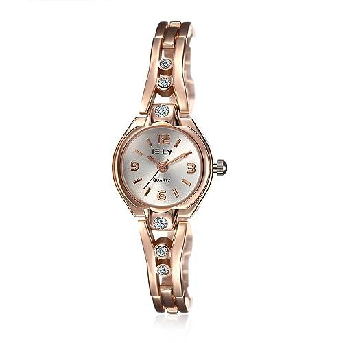iWatch Mujer Reloj De Pulsera Digital redondas Esfera Rose Oro aleación brillantes banda analógico de cuarzo reloj Charm encanto: Amazon.es: Joyería