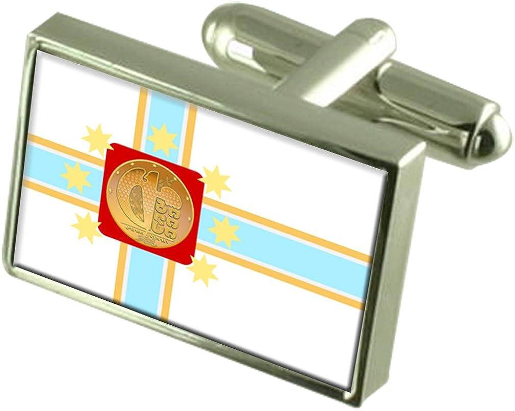 Tbilisi City Georgia Flag Cufflinks Engraved Box