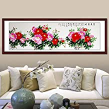 Flower Fairy Hand painted peony flower Oriental Ancient Asian Watercolor Painting Wall Decoration Father's Day Mother's Day Gift Home decor wall Four Feet Without wood frame peony Oriental Peony paint