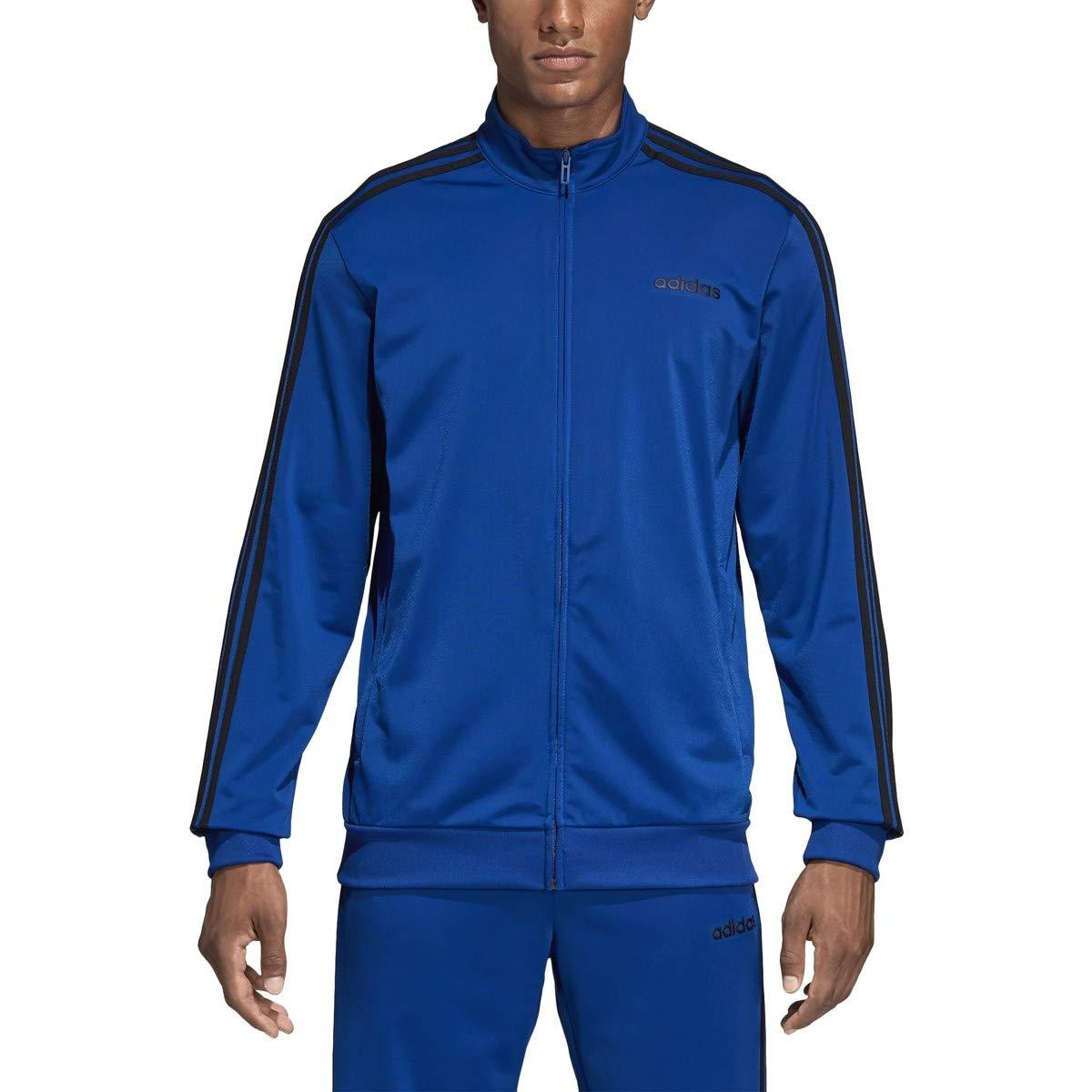 adidas Essentials 3 Stripes Tricot Track Top, Collegiate Royal/Black, MT by adidas