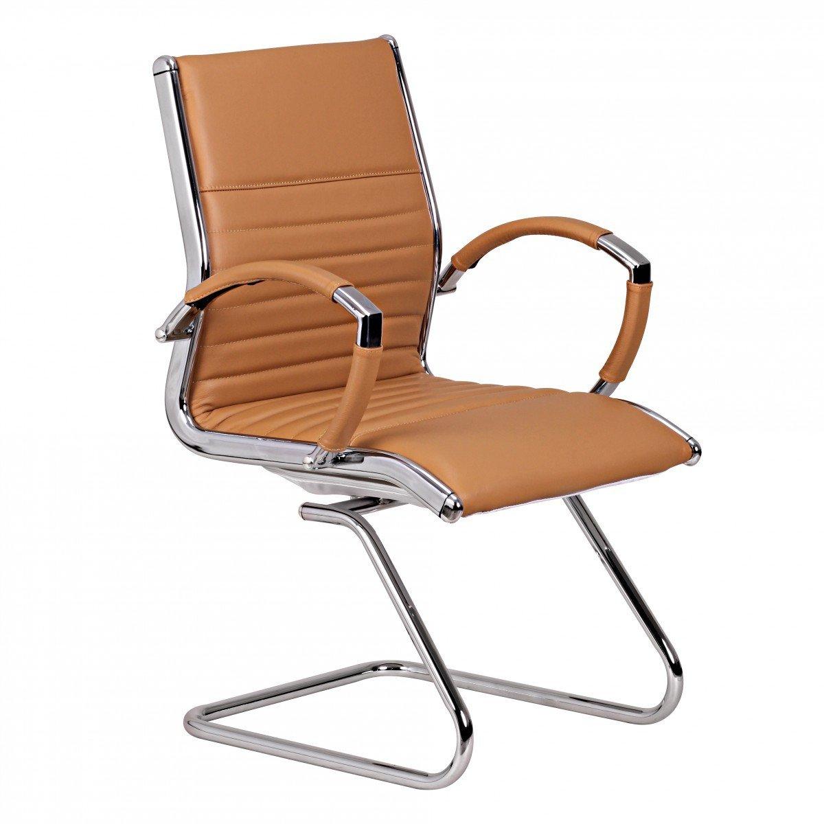 FineBuy Design Besucherstuhl Echt Leder Caramel für Büro   Konferenzstuhl mit Armlehnen - Bis 120 KG   Freischwinger Stuhl ergonomisch gepolstert
