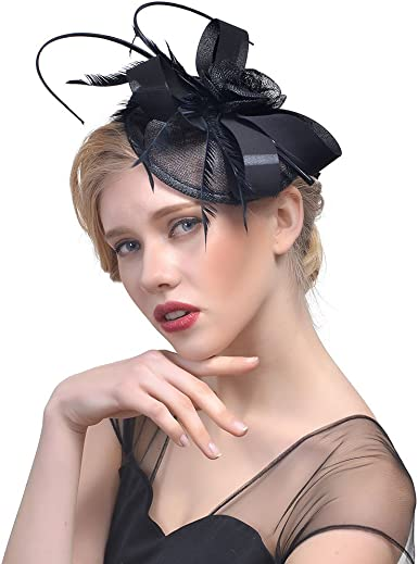 Fascinator Hats for Women Cocktail Feather Mesh Net Veil Party Kentucky Derby