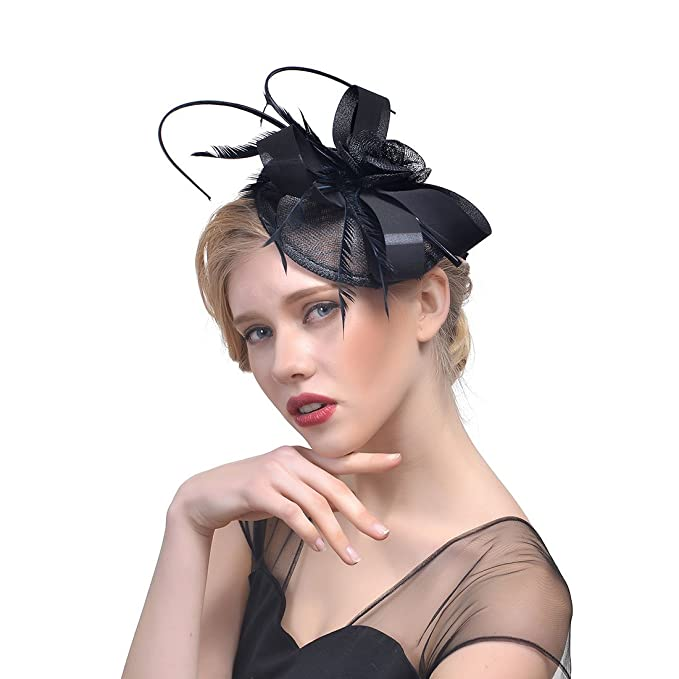 6a228238e3c36 Zongsi Fascinators Hat Flower Mesh Feathers Hairpin Hat Clip Cocktail Tea  Wedding Party Headwear for Girls