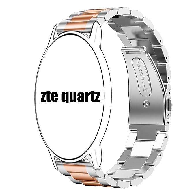 ZTE Quartz Smartwatch Band, Lamshaw Stainless Steel Metal Replacemet Straps for ZTE Quartz Smartwatch (Silver-Rose Gold)