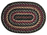 IHF Home Decor Oval Jute Braided Rug 27 x 48 Inch Tartan Design
