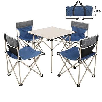 Mesa De Camping Plegable De Aluminio Roll Up con 4 Sillas Y ...
