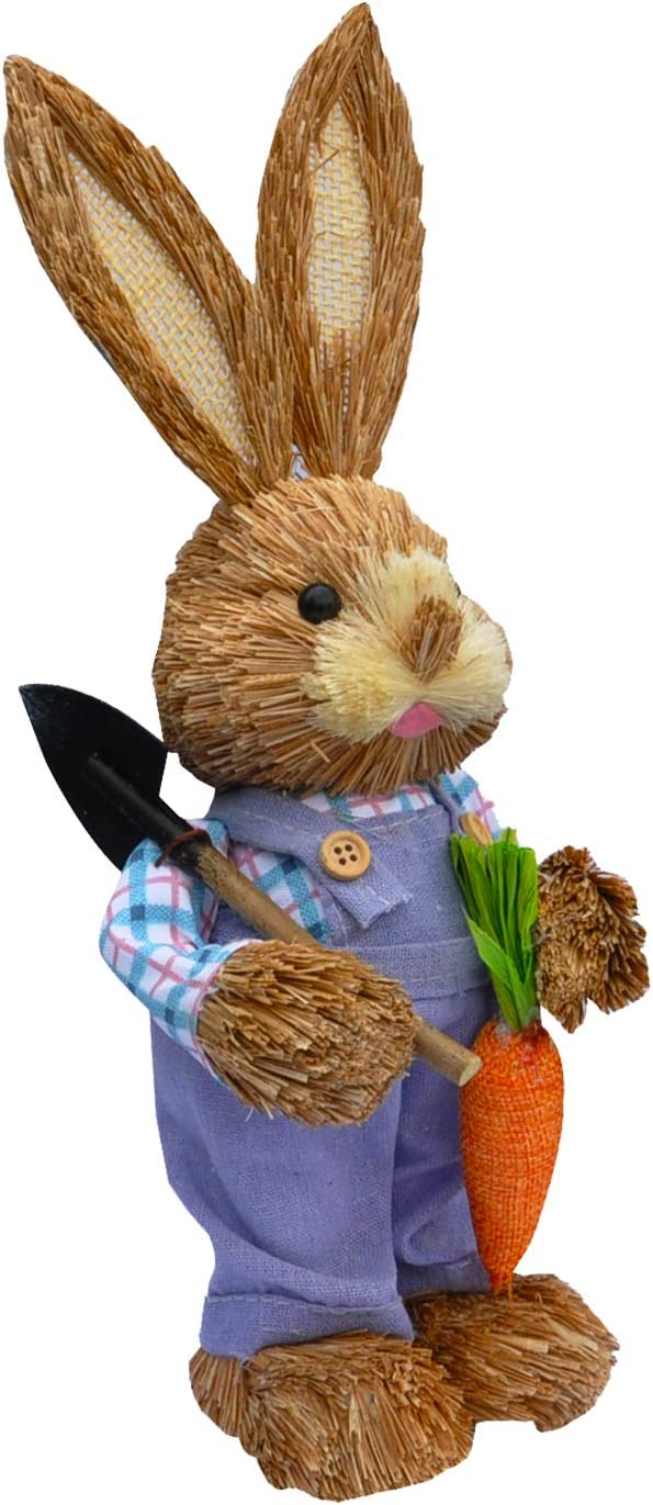 Holiday Home Decoration Birthday Gift Shovel and Carrot in Hands SEASONBLOW Funny Sisal Easter Bunny 13 Inches
