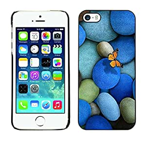 Be Good Phone Accessory // Dura Cáscara cubierta Protectora Caso Carcasa Funda de Protección para Apple Iphone 5 / 5S // Pebbles Stones & Butterfly