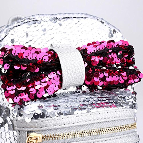 Travel Bag Tie Casual Bag Shoulder School Girls Women Fashion Silver Satchel Bag School Backpack Bow Silver Sequins Ap5qx71w