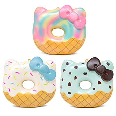 Sanrio Hello Kitty Ice Cream Donut Slow Rising Squishy Toy (Sprinkles, Mint Chocolate, Sherbet, 4 Inch, 3 Piece Set) [Birthday Gift Box, Party Favors, Gift Basket, Stress Relief Toys for Kids, Adults]: Toys & Games