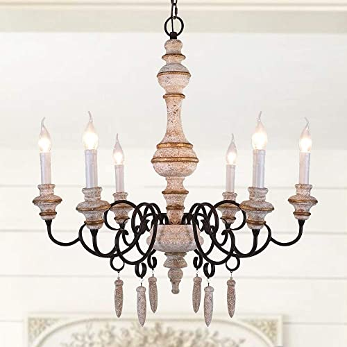 OSAIRUOS French Country Chandelier White Distressed Handmade Wooden Chandeliers Light Fixture 6 Lights Rustic Arms Pendant Lighting for Living Room Dining Room and Bedroom D29.5 X H31.5