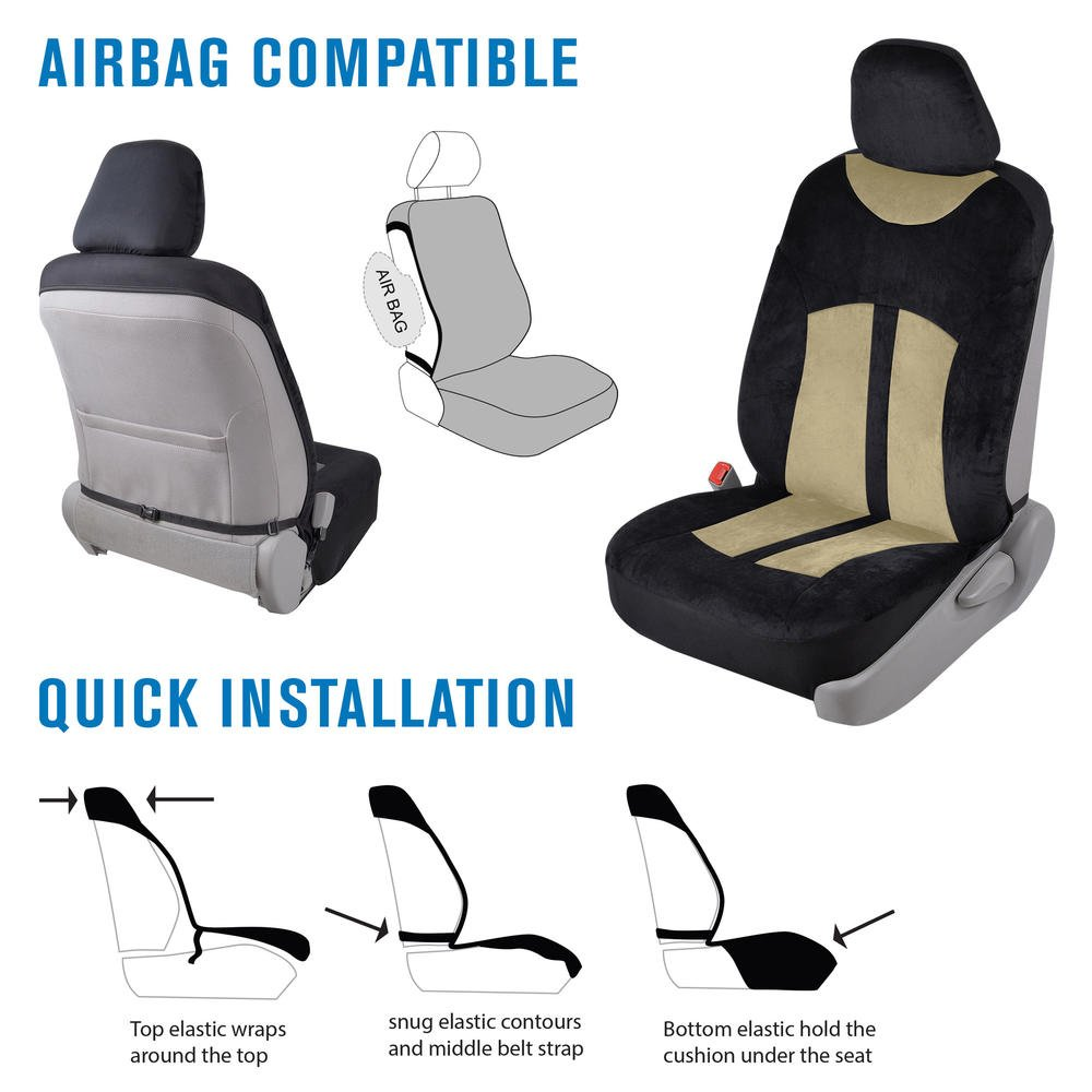 Velvety Smooth Black /& Charcoal Gray Soft Velour 2pc Car Seat Covers for Front Bucket Auto Seats