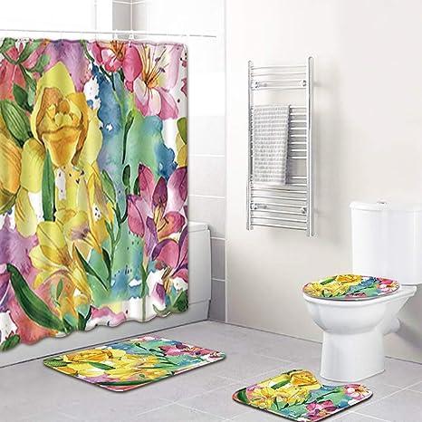 juego de cuatro cortinas de ducha de ba/ño con animales divertidos con doce ganchos Juego de cortina de ducha con alfombra antideslizante tapa de inodoro y alfombra de ba/ño