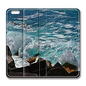 iPhone 6 Leather Case, Personalized Protective Flip Case Cover Wave Breaker for New iPhone 6
