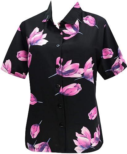 Hawaiano botón de la Camisa Blusas Abajo Mujeres del Vestido de la Playa de Mangas Cortas Campo Azul