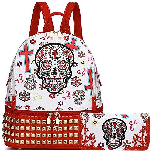 - Sugar Skull Day of the Dead Fashion Backpack Punk Art School Bag Women Spring Biker Daypack Wallet Set (Red Set)