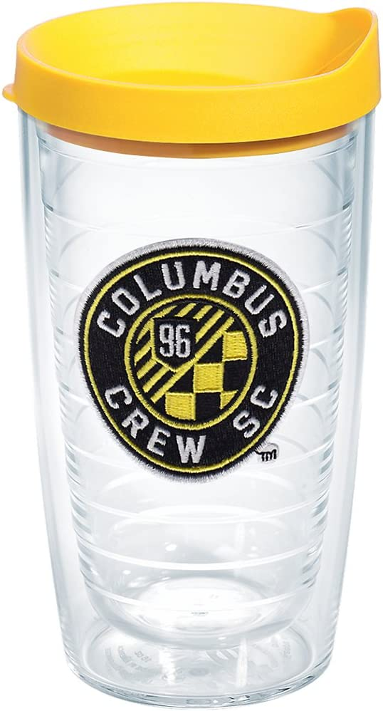 Tervis 1200491 MLS Clear Columbus Crew SC Tumbler with Emblem and Yellow Lid 16oz