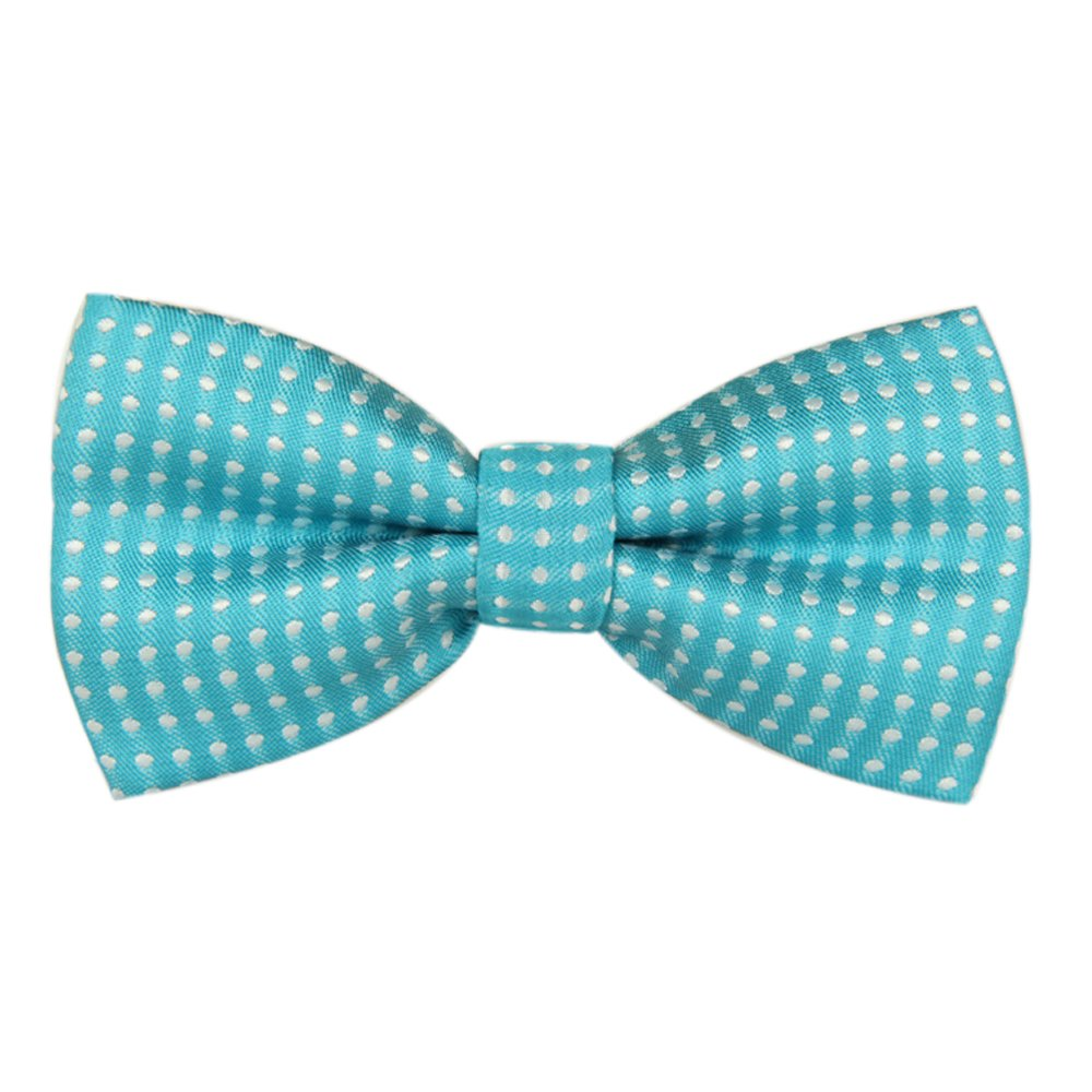 Boy's Kids Children Solid Color Satin Pre-tied Bow Ties Polka dots Bowties (Black White Dots)