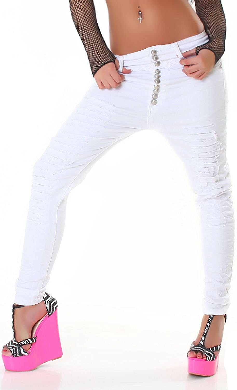 Acce Star Damen Jeans Weiß Skinny Slim Harem Ripped Risse