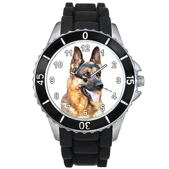Timest - Pastor alemán - Unisex Reloj con correa de silicona negro Analógico Cuarzo CSE028