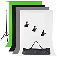 Photography Adjustable Heavy Duty Backdrop Support Stand Kit -1.6 x 3m Black White Green Gray Backdrop Screen + Background Support Stand System