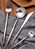 Besplore 4-Piece Luxury Flatware Set,Spoon Fork Knife,Serive for 1,Silver