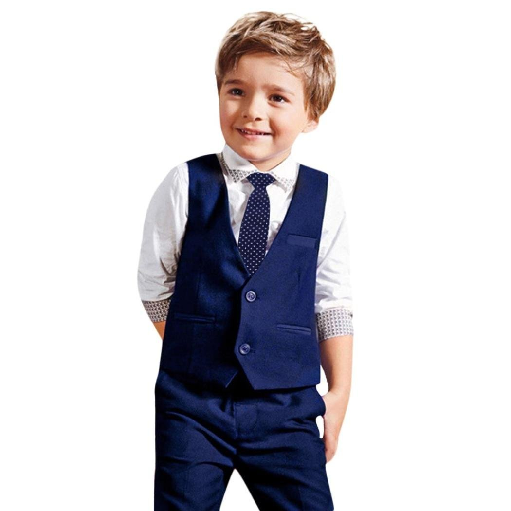 Baby Boy Gentleman Outfit, 4pcs Suits Long Sleeve Shirt Blouse+Necktie+Vest+Long Pants Clothes Set Gifts (5T, Navy)