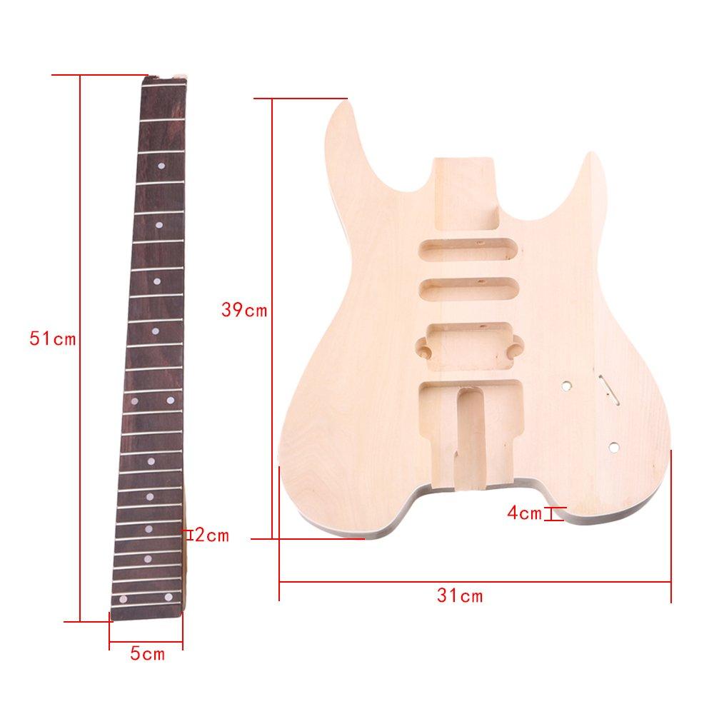yibuy madera de tilo Arce wt-2 6 cuerdas Guitarra eléctrica DIY Kit cuerpo Golpeador Humbucker Pickup puente guitarra clavijas botón de cuello para ...