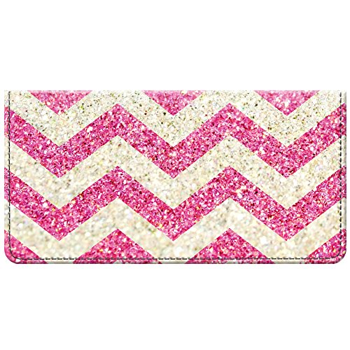 Snaptotes Pink Printed Glitter Design Fabric Checkbook Cover