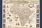 Map Africa With Cities and Tribes 1644 Antique Vintage Style Art Print Mural Giant Poster 36x54 inch