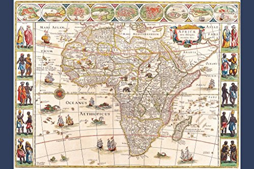 Map Africa With Cities and Tribes 1644 Antique Vintage Style Art Print Poster 24x36 inch