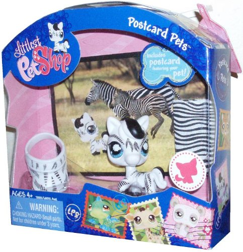 Head Postcard (Littlest Pet Shop Postcard Pets Series Portable Bobble Head Pet Figure Gift Set #903 - Zebra with Visor, Blankets and Postcard)