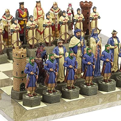 "Crusade Chessmen & Greenwich Street Board From Spain Extra Large, King: 6 7/8""."