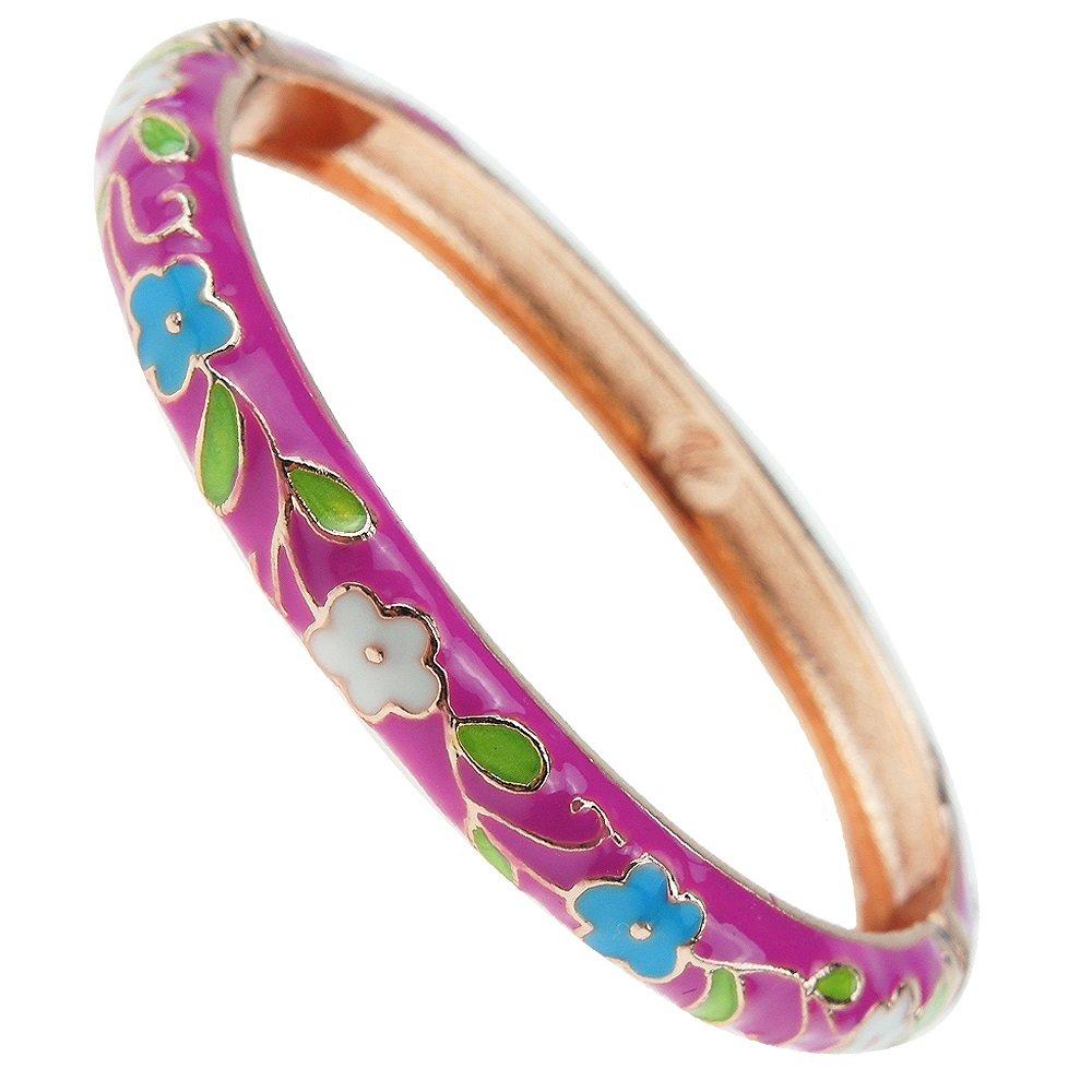 UJOY Flowers Bracelet Multi-Colors Cloisonne Wedding Jewelry Gift Women Girls Enameled Bangles Opening Hinged 55A114